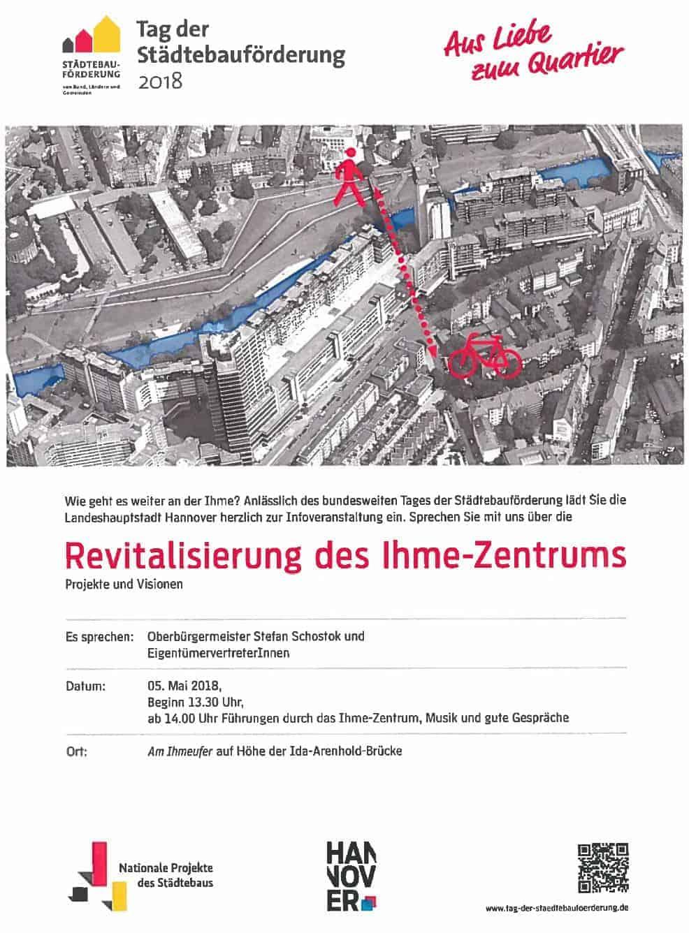 018 - EINLADUNG: Revitalisierung des Ihme-Zentrums - Projekte und Visionen - 05.05.2018